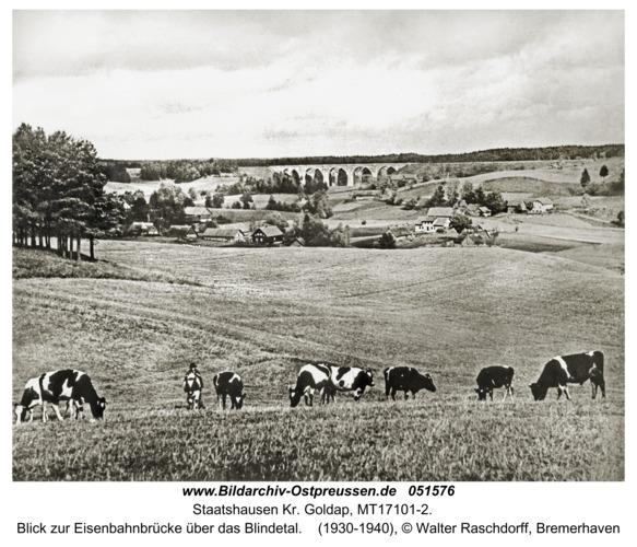 Staatshausen Kr. Goldap, Blick zur Eisenbahnbrücke über das Blindetal