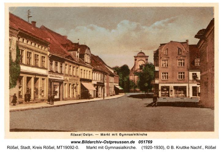 Rößel, Markt mit Gymnasialkirche