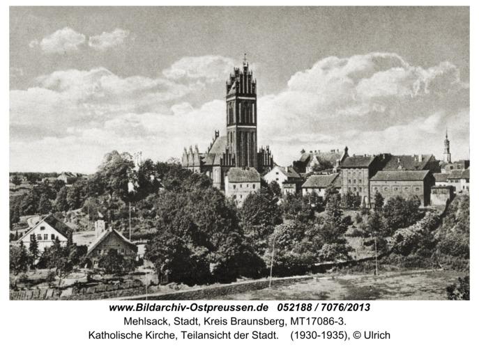 Mehlsack, Katholische Kirche, Teilansicht der Stadt