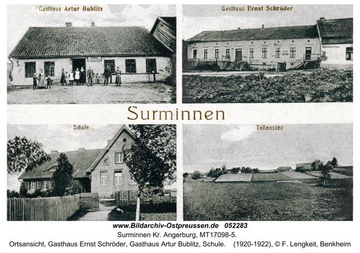 Surminnen, Ortsansicht, Gasthaus Ernst Schröder, Gasthaus Artur Bublitz, Schule