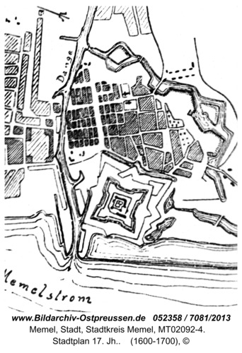 Memel, Stadtplan 17. Jh.