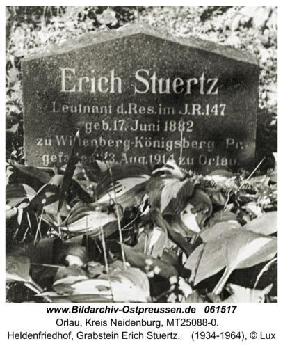 Orlau, Heldenfriedhof, Grabstein Erich Stuertz