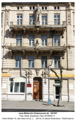 Tilsit/Советск, Hohe Straße 10, das Haus mit dem Ritter