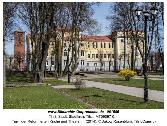 Tilsit/Советск,  Turm der Reformierten Kirche und Theater