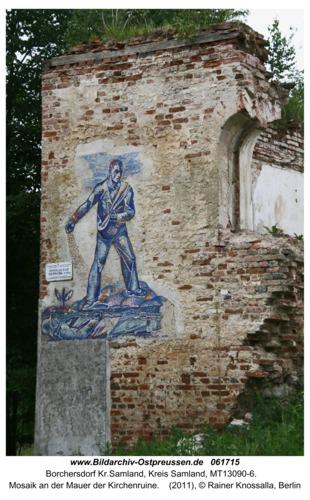 Borchersdorf Kr. Samland, Mosaik an der Mauer der Kirchenruine