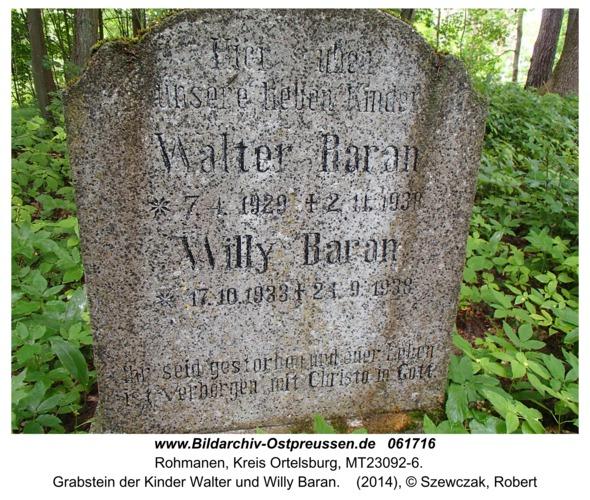 Rohmanen, Grabstein der Kinder Walter und Willy Baran