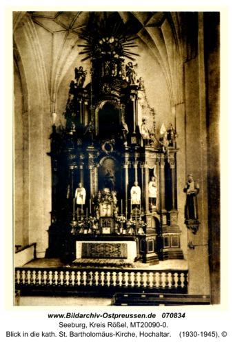 Seeburg, Blick in die kath. St. Bartholomäus-Kirche, Hochaltar