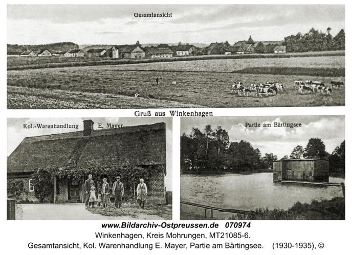 Winkenhagen, Gesamtansicht, Kol. Warenhandlung E. Mayer, Partie am Bärtingsee