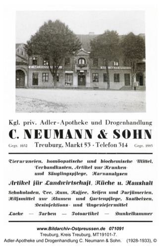 Treuburg, Adler-Apotheke und Drogenhandlung C. Neumann & Sohn