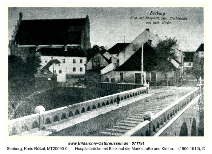 Seeburg, Hospitalbrücke mit Blick auf die Marktstraße und Kirche