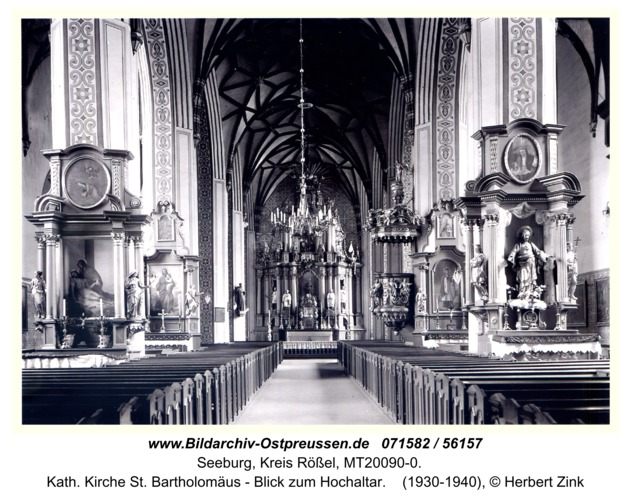 Seeburg, Kath. Kirche St. Bartholomäus - Blick zum Hochaltar