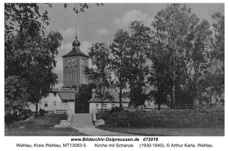 Wehlau, Kirche mit Schanze