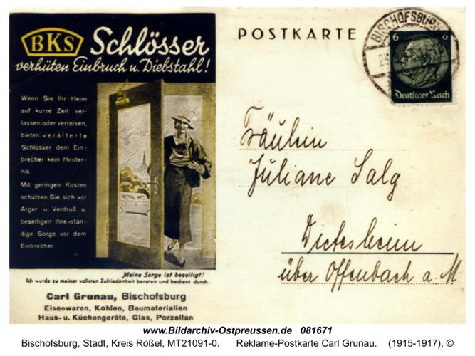 Bischofsburg, Reklame-Postkarte Carl Grunau