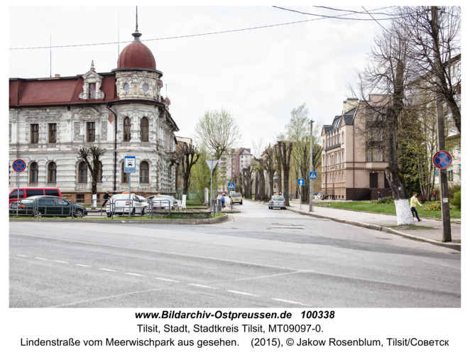 Tilsit (Советск),  Lindenstraße vom Meerwischpark aus gesehen