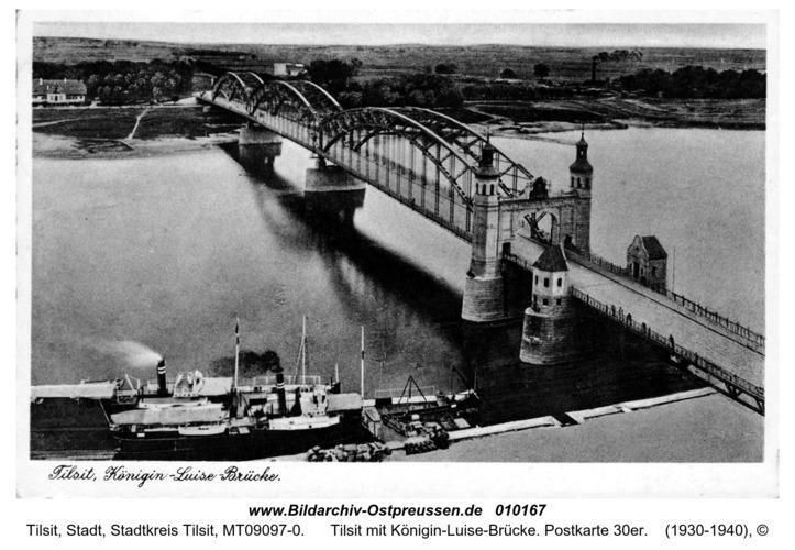 Tilsit mit Königin-Luise-Brücke. Postkarte 30er