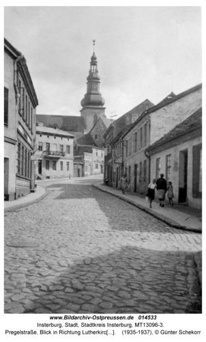 Insterburg, Pregelstraße, Blick in Richtung Lutherkirche und Alter Markt