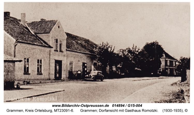 Grammen, Dorfansicht mit Gasthaus Romotzki