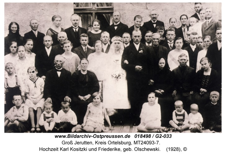 Groß Jerutten, Hochzeit Karl Kositzki und Friederike, geb. Olschewski