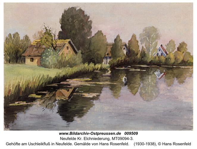 Gehöfte am Uschleikfluß in Neufelde. Gemälde von Hans Rosenfeld