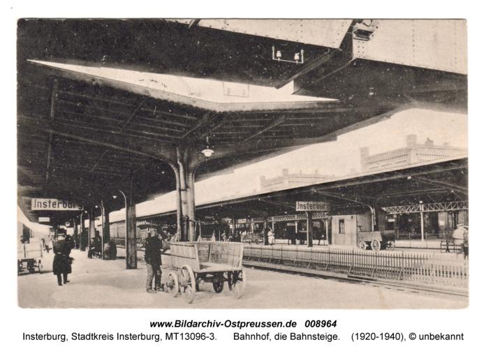Insterburg, Bahnhof, die Bahnsteige
