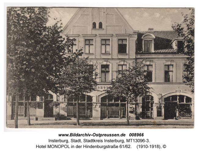 Insterburg, Hotel MONOPOL in der Hindenburgstraße 61/62