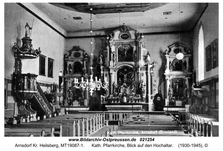 Arnsdorf Kr. Heilsberg, Kath. Pfarrkirche, Blick auf den Hochaltar
