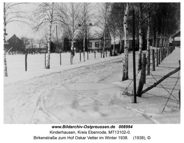 Kinderhausen, Birkenstraße zum Hof Oskar Vetter im Winter 1938