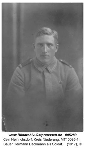 Klein Heinrichsdorf, Bauer Hermann Deckmann als Soldat