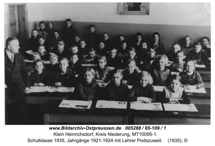 Klein Heinrichsdorf, Schulklasse 1935, Jahrgänge 1921-1924 mit Lehrer Podszuweit