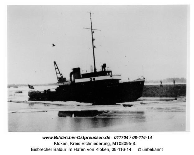 Kloken, Eisbrecher Baldur im Hafen von Kloken, 08-116-14