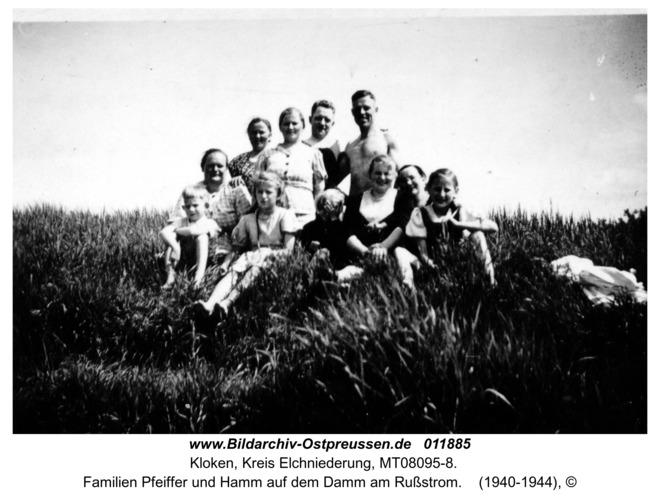 Kloken, Familien Pfeiffer und Hamm auf dem Damm am Rußstrom