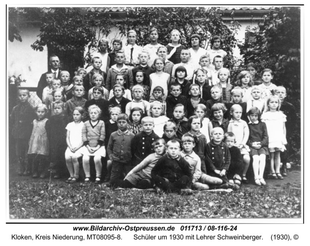 Kloken, Schüler um 1930 mit Lehrer Schweinberger