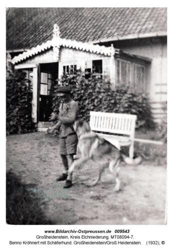 Benno Kröhnert mit Schäferhund. Großheidenstein/Groß Heidenstein