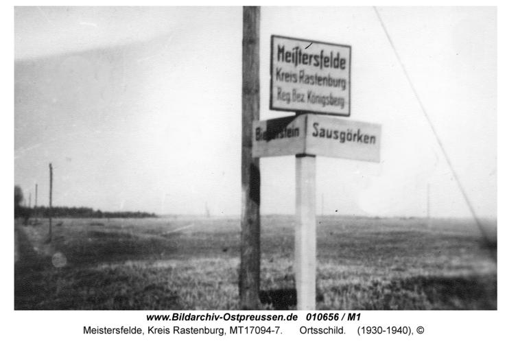 Meistersfelde, Ortsschild