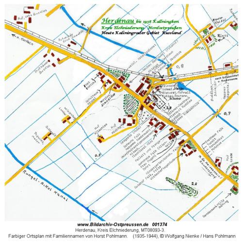 Herdenau, Farbiger Ortsplan mit Familiennamen von Horst Pohlmann