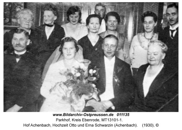 Parkhof, Hof Achenbach, Hochzeit Otto und Erna Schwarzin (Achenbach)