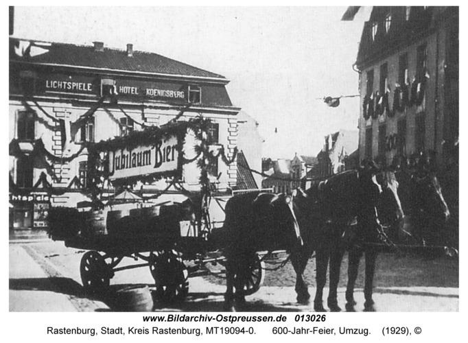 Rastenburg, Angerburger Straße, 600-Jahr-Feier, Umzug