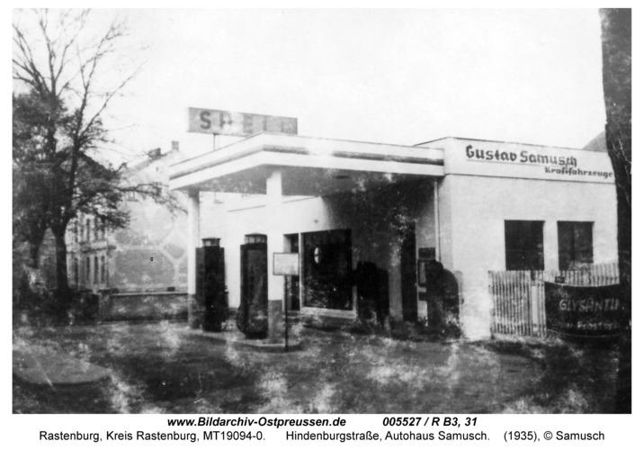 Rastenburg, Hindenburgstraße 27, Autohaus Samusch, Tankstelle