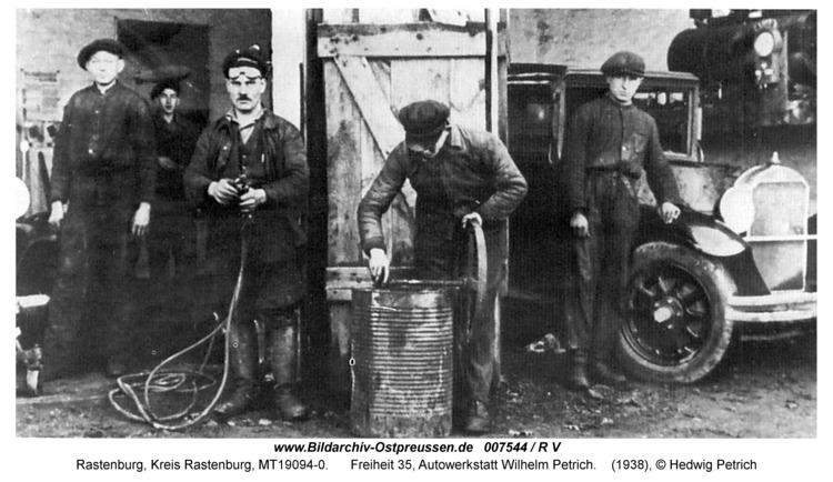 Rastenburg, Freiheit 35, Autowerkstatt Wilhelm Petrich