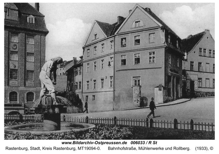 Rastenburg, Bahnhofstraße, Mühlenwerke und Rollberg