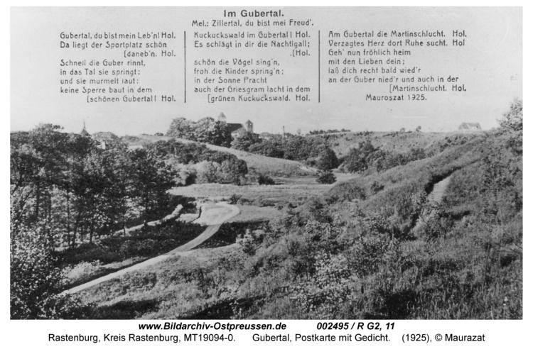 Rastenburg, Gubertal, Postkarte mit Gedicht