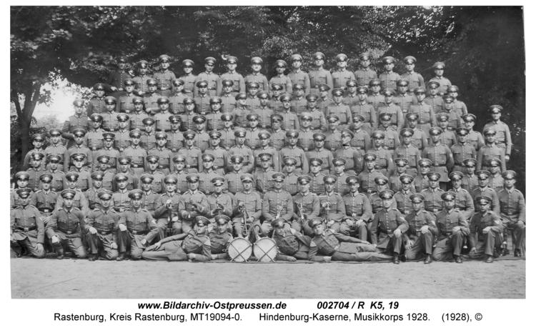 Rastenburg, Hindenburgstraße, Hindenburg-Kaserne, Musikcorps 1928