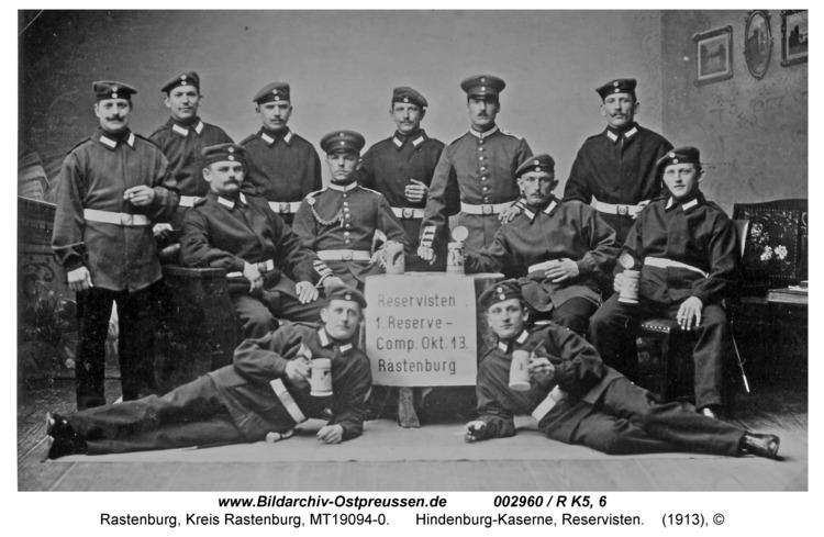 Rastenburg, Hindenburgstraße, Hindenburg-Kaserne, Reservisten