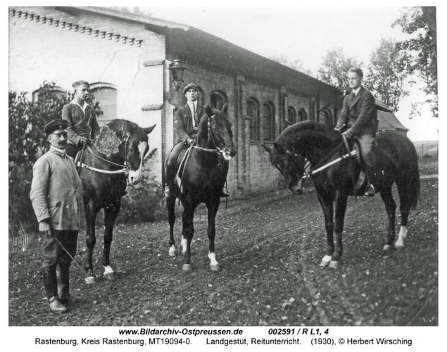 Rastenburg, Landgestüt, Reitunterricht