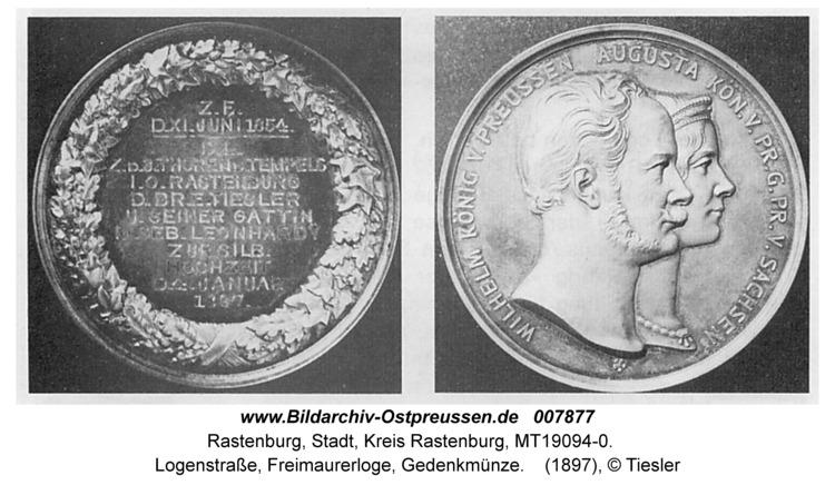 Rastenburg, Logenstraße, Freimaurerloge, Gedenkmünze