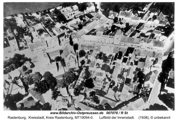 Rastenburg, Luftbild der Innenstadt