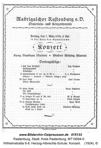 Rastenburg, Wilhelmstraße 6-8, Herzog-Albrechts-Schule, Konzert