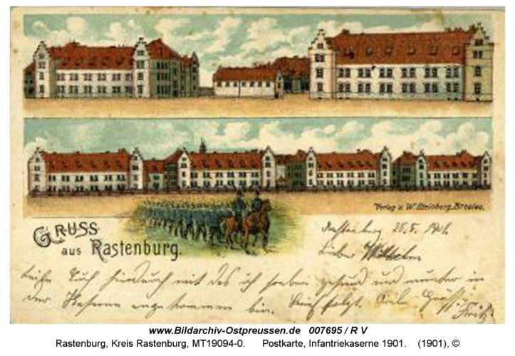 Rastenburg, Postkarte, Hindenburg-Kaserne, 1901