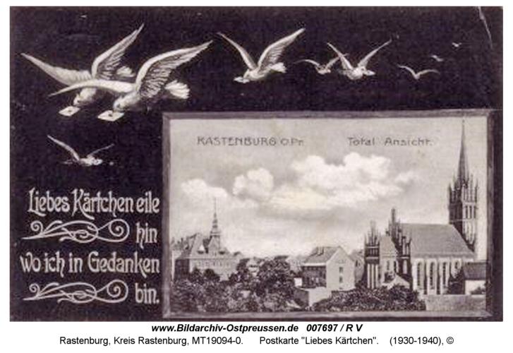 """Rastenburg, Postkarte """"Liebes Kärtchen"""""""