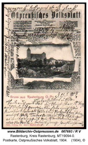 Rastenburg, Postkarte, Ostpreußisches Volksblatt, 1904